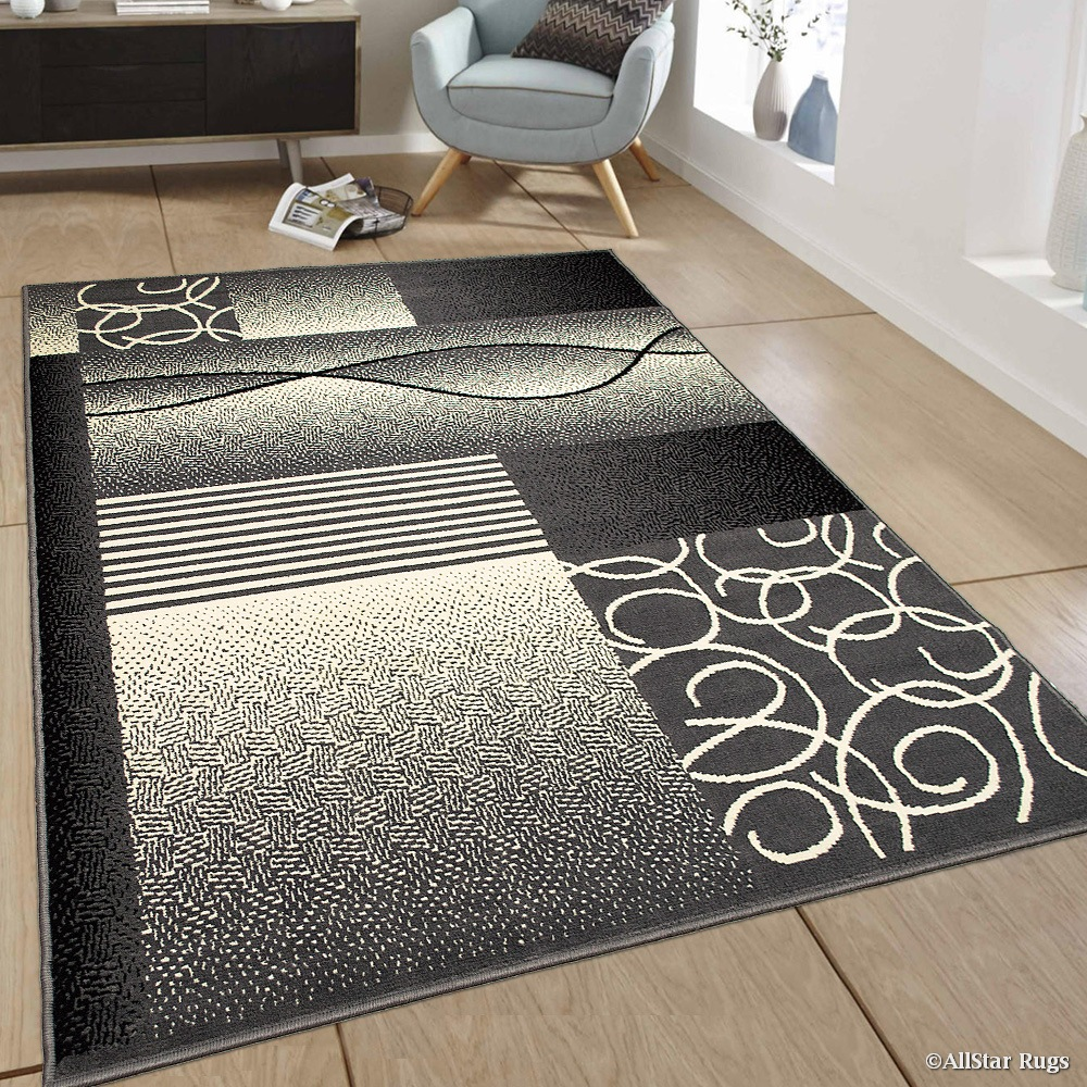 "Allstar Grey Area Rug. Contemporary. Abstract. Traditional. Geometric. Formal. Shapes. Squares (5' 2"" x 7' 1"")"