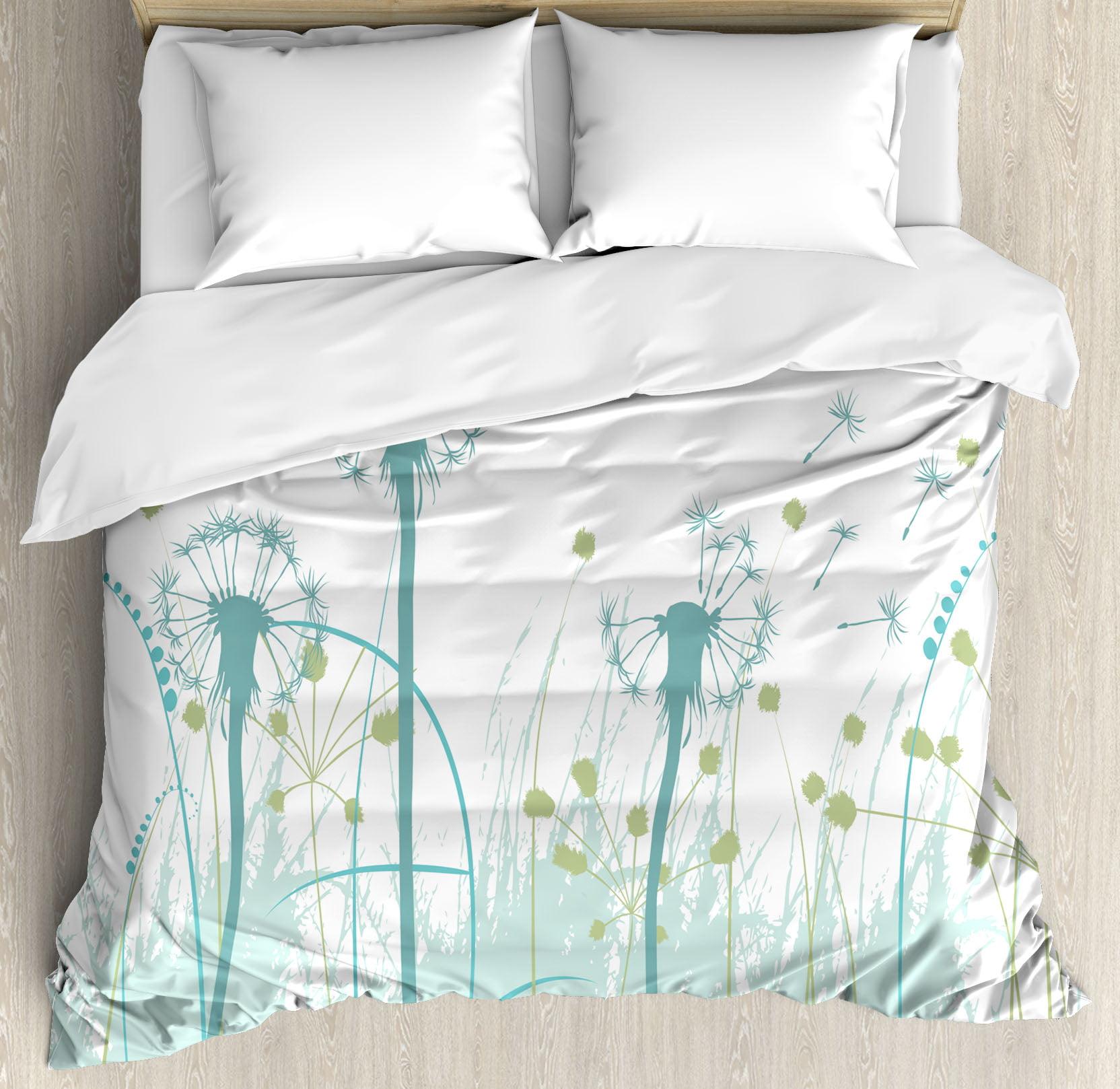 Spring Queen Size Duvet Cover Set, Silhouette Dandelion F...