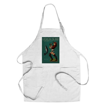 Vashon Island, Washington - Pinup Girl Salmon Fishing - Lantern Press Artwork (Cotton/Polyester Chef's (Best Salmon Fishing In Washington State)