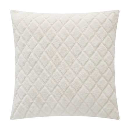 "Mainstays Cut Faux Fur Throw Pillow, 18"" x 18"", Ivory"