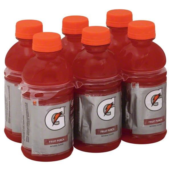Gatorade Thirst Quencher Fruit Punch 12 Fluid Ounce 6 Pack Plastic Bottles