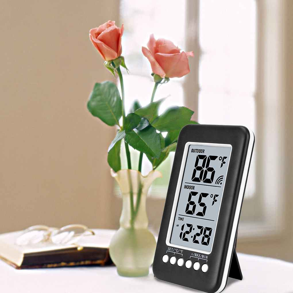 Bonrich Digital Hygrometer Indoor Outdoor Thermometer LCD Humidity Monitor with Temperature Gauge Humidity Meter, With electronic clock (Batteries not included)