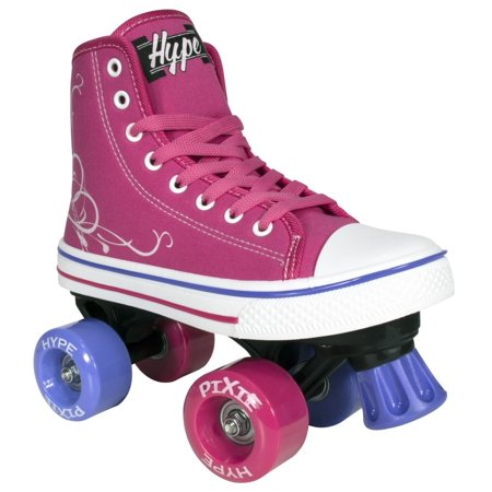 Roller Skates for Girls | HYPE Pixie Kid's Quad Roller Skates with High Top Shoe Style for Indoor / Outdoor Skating | Durable, Easy to Skate, Made for Kids (Pink, 2) for $<!---->