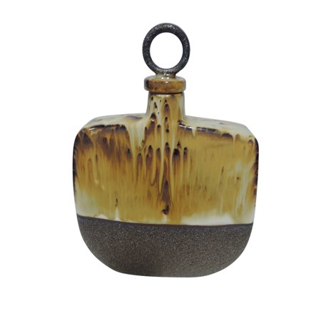 SageBrook Home Brown Drip Glaze Ceramic Jar with Handle