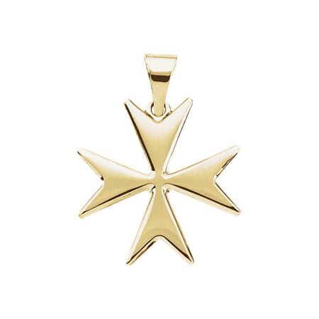 Jewels By Lux 14K Yellow Gold Maltese Cross Pendant with Packaging