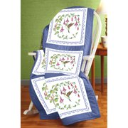 "Janlynn Stamped Cross Stitch Quilt Blocks 18""X18"" 6/Pkg-Hummingbird"