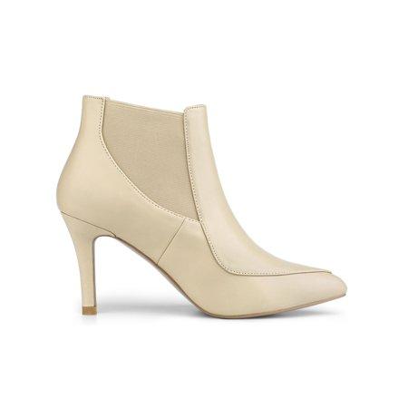 Women's Stiletto Heel Pointed Toe Chelsea Beige Booties - 6.5 M US - image 6 de 7