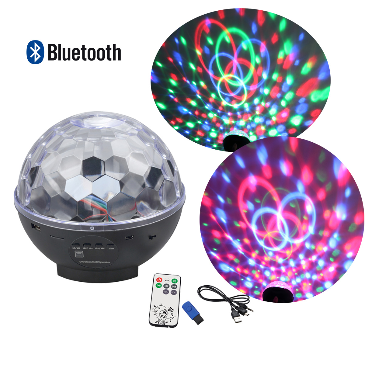 Besmall Bluetooth MP3 RGB LED Crystal Magic Ball Speaker Rotating Strobe Disco Stage Christmas Ball Light with Remote... by Besmall