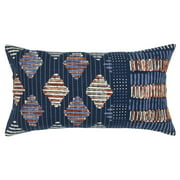 "Rizzy Home Decorative Poly Filled Throw Pillow Geometric 14""X26"" Blue"