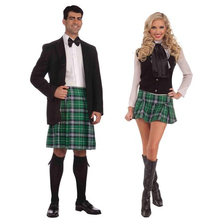 Cheap Couples Costume (Mens Kilt Womens Mini Kilt Couples Kilt Set St Patrick's Day Costume)