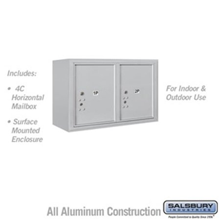 Salsbury 3805D-2PAFU 21-0.125 in. 5 Door High Unit Double Column Stand Alone Parcel Locker 2 PL5s Front Loading Surface Mounted 4C Horizontal Mailbox Unit, Aluminum - USPS Access
