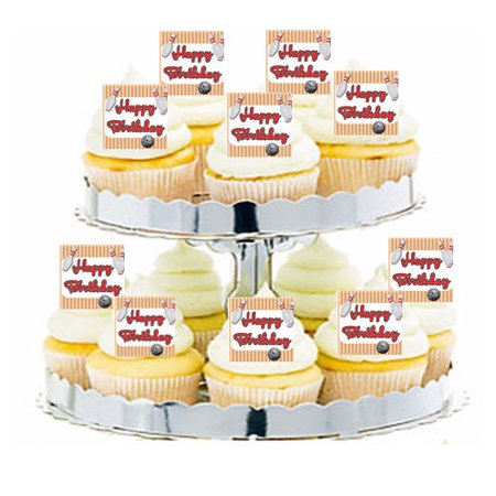 24pk Bowling Happy Birthday Edible Cupcake  Decoration Toppers / Picks (Bowling Cupcakes)