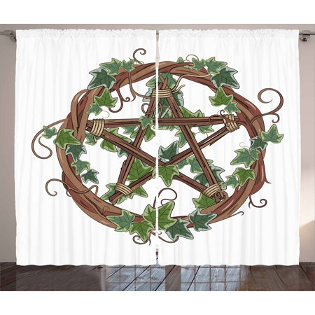 Pentacle Curtains 2 Panels Set, Vine Wreath with Ivy on Intertangled Twigs Forming Pentagram, Window Drapes for Living Room Bedroom, 108W X 96L Inches, Olive Green Jade Green and Umber, by Ambesonne