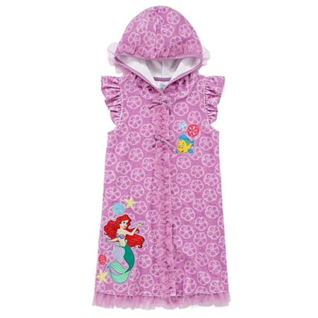 9ab4d7380b Disney - Disney Little Mermaid Toddler Girls Hooded Purple Ariel Swim Suit Cover  Up - Walmart.com