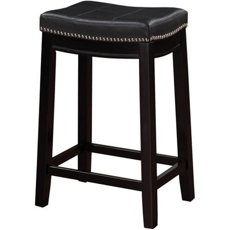 Linon Claridge Backless Counter Stool, 24 inch Seat Height, Multiple Colors Bar Stool Red Seat Assembled