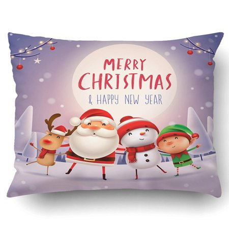 ARTJIA Xmas Happy Christmas Companions In The Moonlight Santa Claus Snowman Reindeer Elf In Christmas Snow Scene Pillow Case Cushion Cover Case Throw Pillow Case 20x30 inches - Elf Scenes