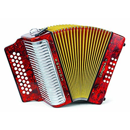 Hohner Button Accordion Corona II Classic GCF, With Gig Bag, Straps And Adjustable Bass Strap, Pearl Red