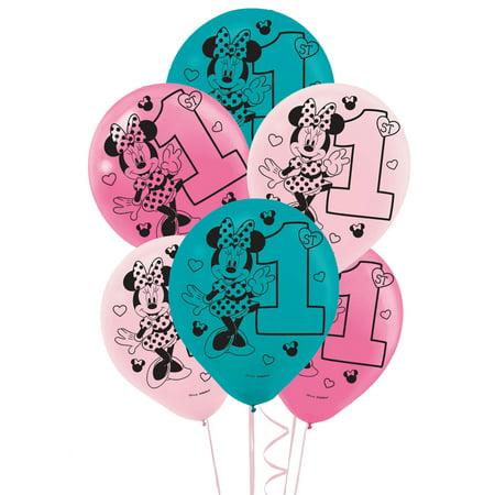 Disney Minnie Mouse 1st Birthday Latex Balloon - Baby Minnie Mouse 1st Birthday Pinata