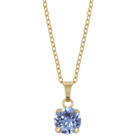 - X & O 14-KT Gold Plated 8mm Prong Set Light Sapphire Swarovski Pendant Necklace