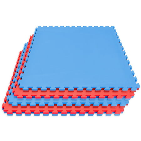 Sivan Health and Fitness Karate Mat, Reversible Interlocking Puzzle Tiles, High Density Sports Mat for Martial Arts, Karate, Taekwondo, Boxing, Cardio, and More, For Home or Business (Red/Blue)