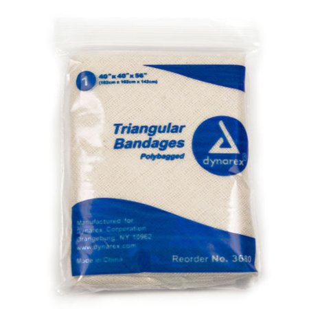 Triangular Bandage Wraps Arm Sling 100% Cotton With 2 safety pins ( 6 Each ) by Dynarex MS85600 2 Safety Pins/1 Bandage