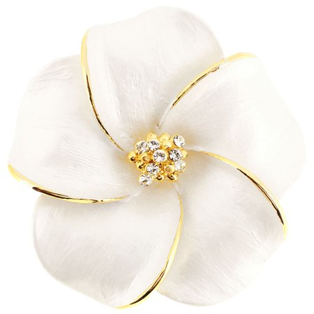 White Hawaiian Plumeria Swarovski Crystal Flower Pin Brooch And Pendant