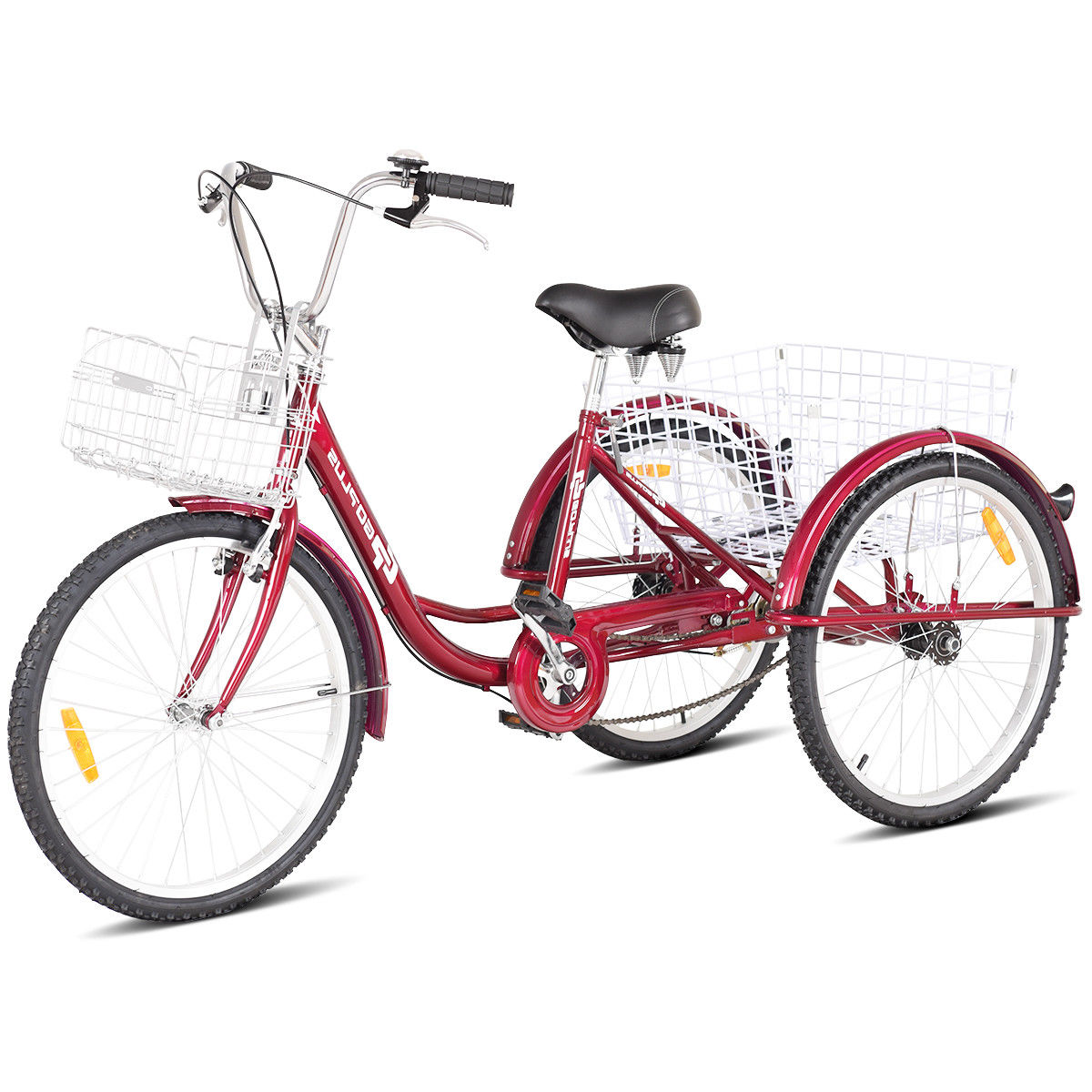 Goplus 26'' Single Speed 3-wheel Bicycle Adult Tricycle Seat Height Adjustable w/ Bell