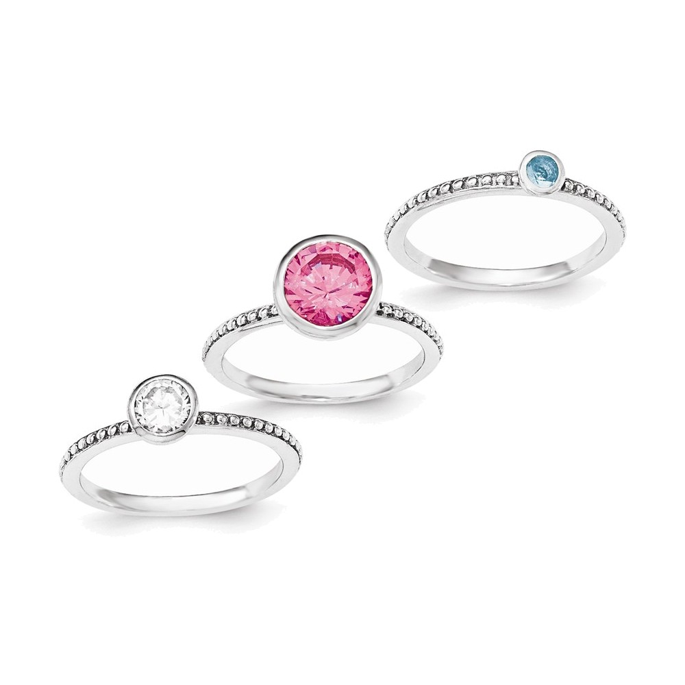 Sterling Silver Rhodium-plated w/Pink & White CZ and Blue Glass Ring Set Size 6