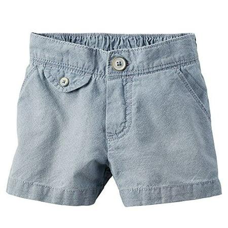 Girls Chambray Shorts (Big Girls' Flat Front Solid Chambray Shorts With Pockets; Blue,)