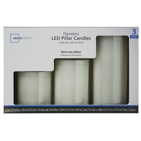 Mainstays 3-Pack Flameless LED Pillar Candle, White, Various Sizes