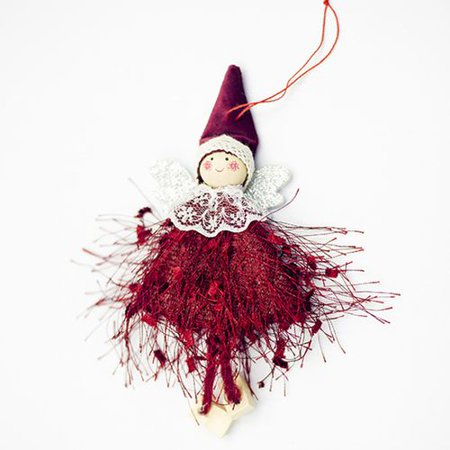 Michellem Christmas Tree Xmas Hang Ornament Wool Angel Doll Santa Claus Party Display Window Pendant Decor - White Santa Clause ()
