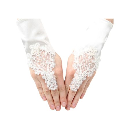 Girls Ivory Pearl Sequin Coiled Lace Satin Communion Flower Girl Gloves - Sequin Gloves