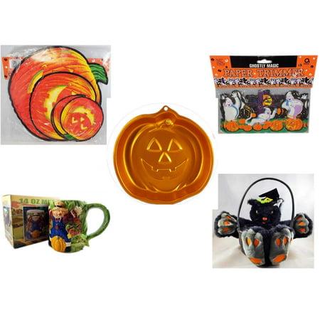 Halloween Fun Gift Bundle [5 Piece] - Classic Pumpkin Cutouts Set of 9 - Ghostly Magic Paper Trimmer 3.75 in x 9 ft. - Wilton Iridescents Jack-O-Lantern Pan - Earthenware Scarecrow & Harvest Design