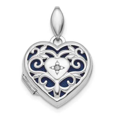 925 Sterling Silver Filigree Diamond Heart Photo Pendant Charm Locket Chain Necklace That Holds Pictures Sterling Silver Filigree Heart Charm