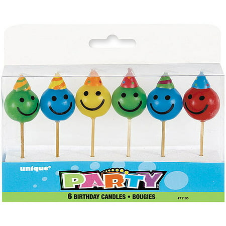 Smiley Face Pick Birthday Candles 6pk