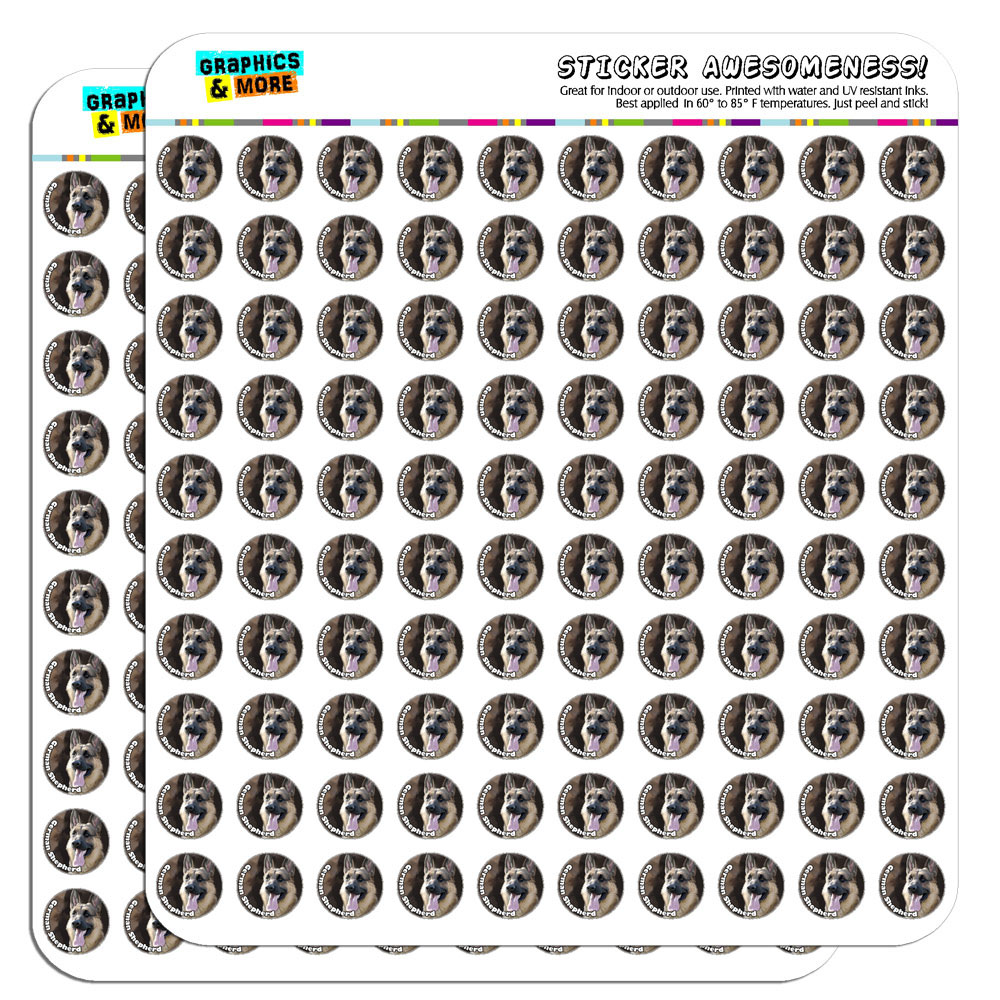 "German Shepherd Dog Pet 1/2"" (0.5"") Scrapbooking Crafting Stickers"