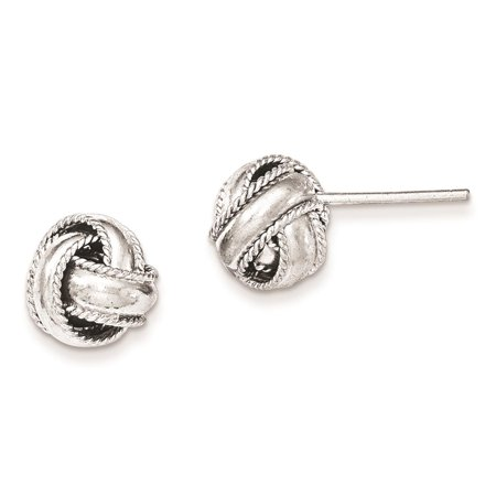 Kids 925 Sterling Silver Rope Edged Knot Post Children Earrings 10mm x 10mm