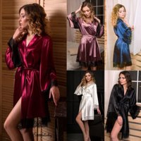 Women Satin Silk Dress Pajamas Gown Wedding Bride Sleepwear Robe Lace Homewear