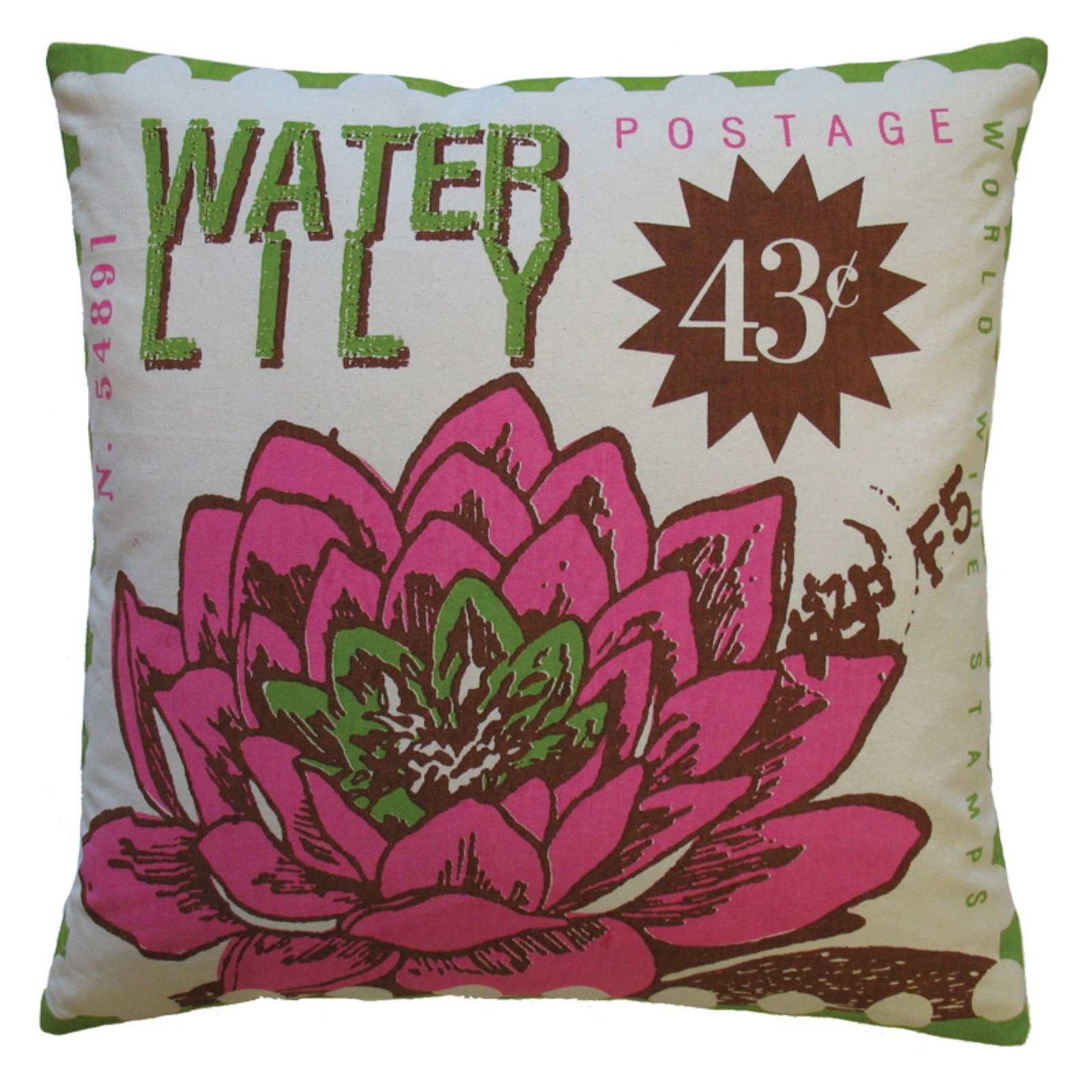 Koko Company Postage Waterlily Decorative Pillow