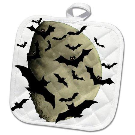 3dRose Colony of Halloween Bats and Haunting Moon Pot Holder - Halloween Pot