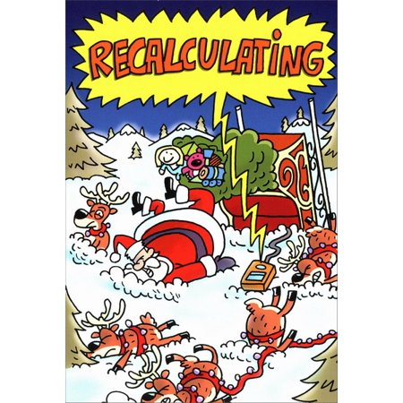 Humorous Christmas Cards.Nobleworks Recalculating Box Of 12 Funny Humorous Christmas Cards