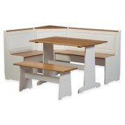 Riverbay Furniture Patio Conversation Kitchen Breakfast Corner Nook Table Booth Bench Dining Set in White