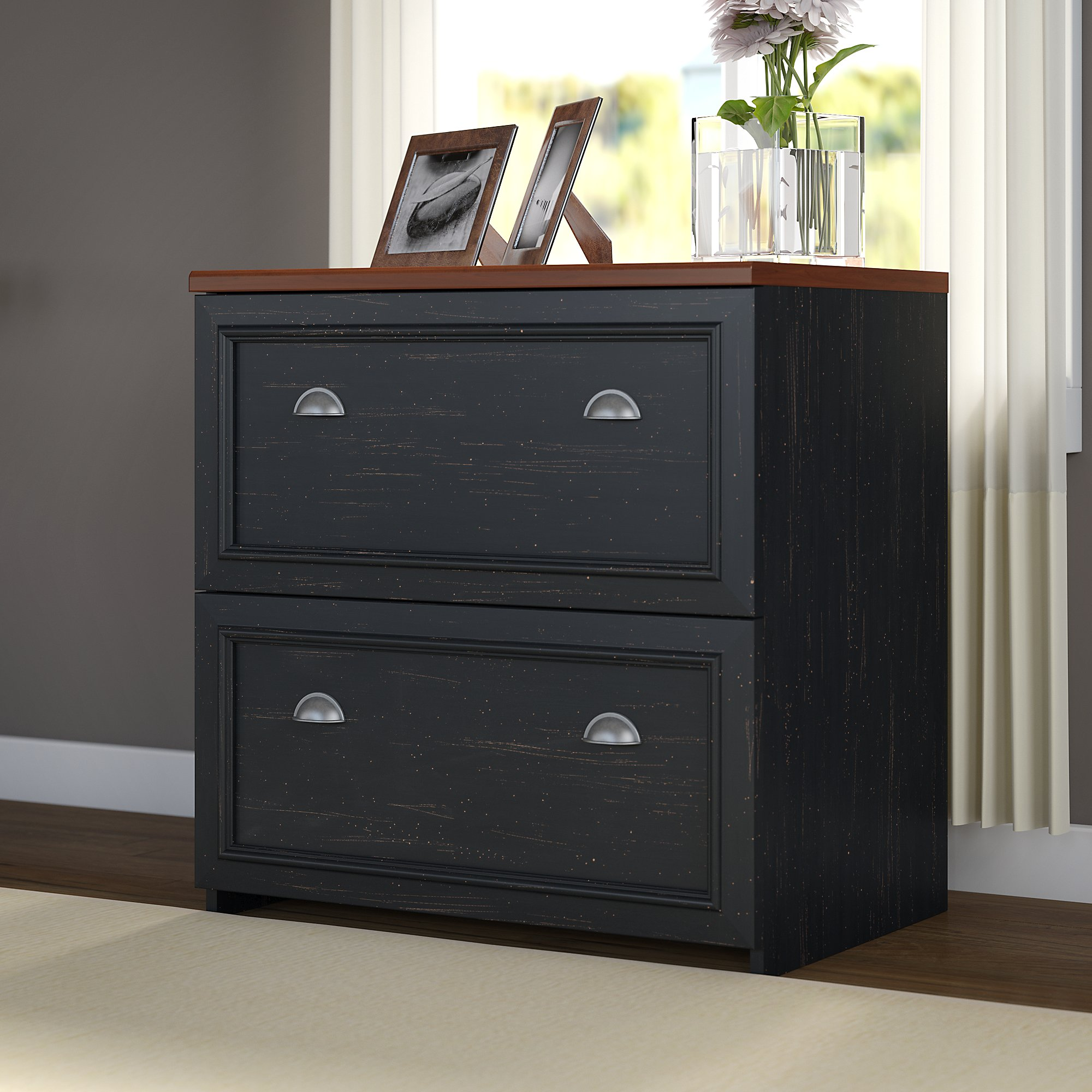 Lovely Bush Furniture Fairview Lateral File Cabinet In Antique Black   Walmart.com