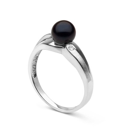 Wisp Collection Black Akoya Pearl and Diamond Ring in Sterling Silver