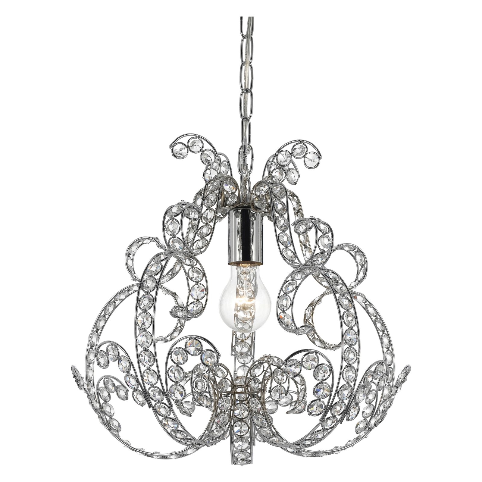 AF Lighting Splendor 1-Light Mini Chandelier, Clear Glass/Chrome
