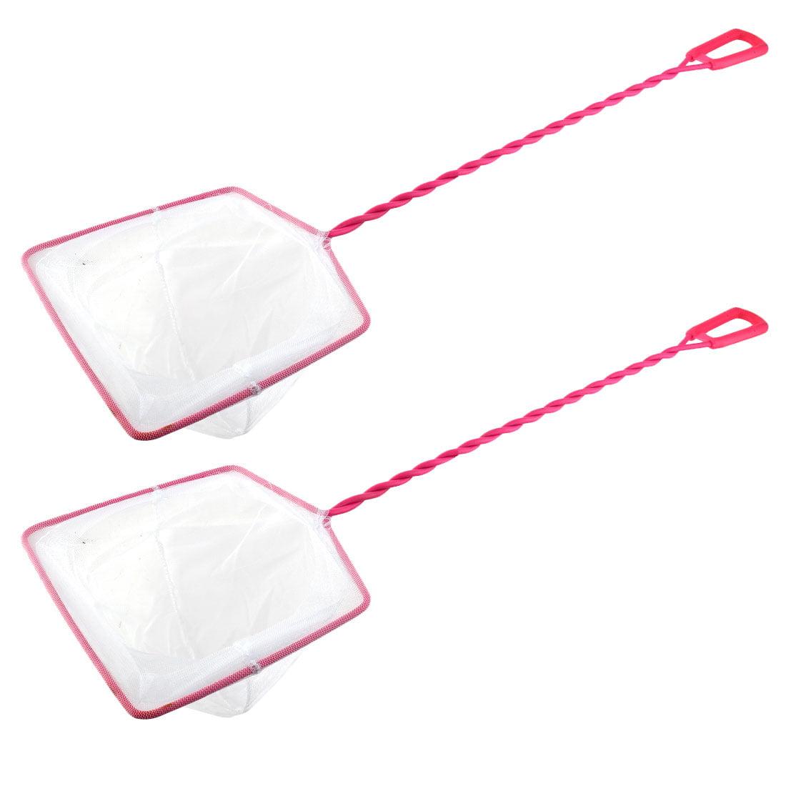 2Pcs Pink Plastic Coated Handle Square Frame Aquarium Pond Fish Skimming Net
