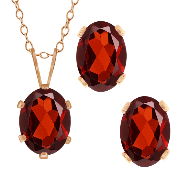 3.20 Ct Oval Red Garnet Gemstone Gold Plated Silver Pendant Earrings Set