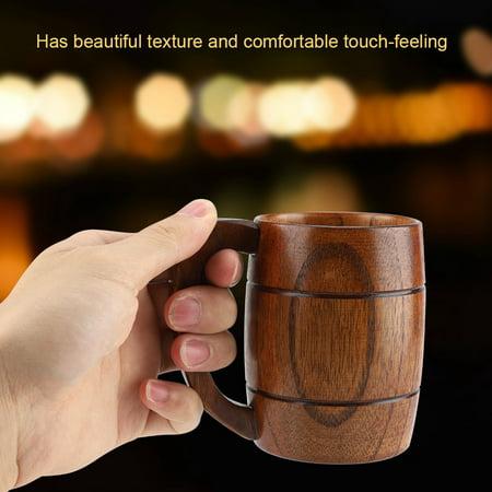 Natural Wooden Beer Cup Retro Big Capacity Tea Water Classic Wood Drinking Mug with Handle, Wooden Beer Cup, Wood Beer (A & W Root Beer Mugs Value)