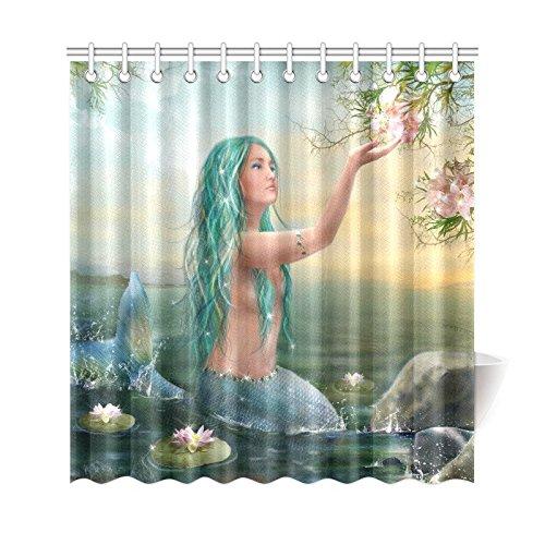 GCKG Sunrise Ocean Shower Curtain Princess Fantasy Mermaid