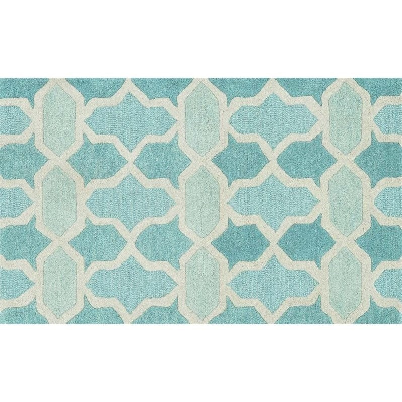 "Loloi Weston 2'3"" x 3'9"" Hand Tufted Wool Rug in Aqua"